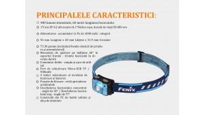 Fenix HL12R - Lanternă Frontală Reîncărcabilă - 400 Lumeni - 64 Metri - Gri