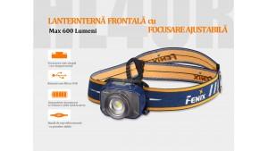 Fenix HL40R - Lanternă Frontală Reîncărcabilă - 600 Lumeni - 147 Metri - Albastru