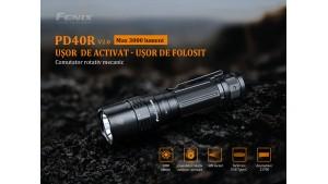 Fenix PD40R V2.0 - Lanternă Tactică Reîncărcabilă - 3000 Lumeni - 405 Metri